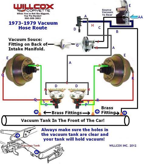 1974 corvette headlight vacuum diagram 1973 1979 corvette vacuum hose route headl 73 79 with