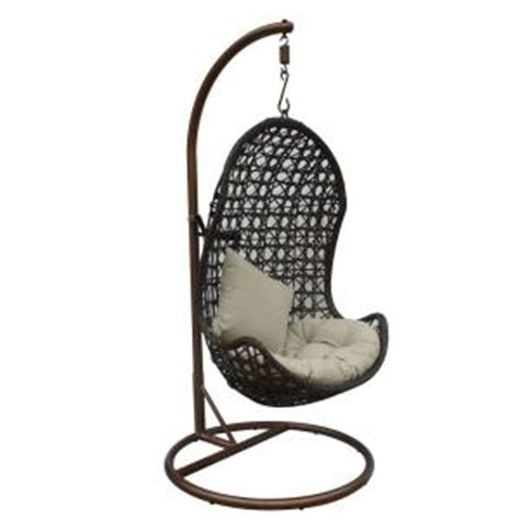 wicker swing chair with stand jlip brown rattan patio swing chair with stand and beige