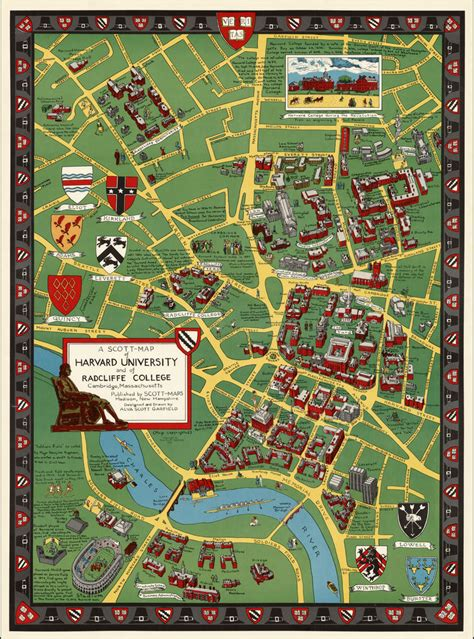 harvard map a map of harvard and of radcliffe college cambridge massachusetts barry