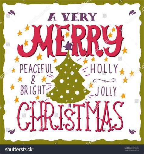 merry christmas peaceful  bright holly jolly quotes illustration  hand
