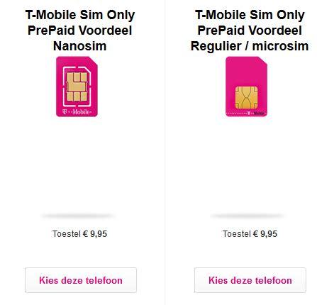 nano sim t mobile micro simkaart kopen prepaidsimkaart net
