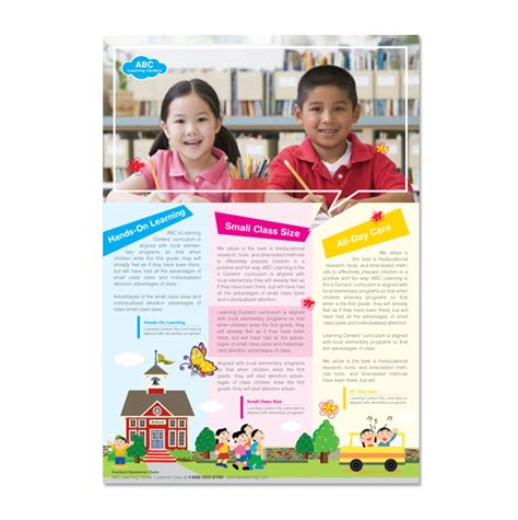 School Brochure Template Free by Learning Center School Flyer Template