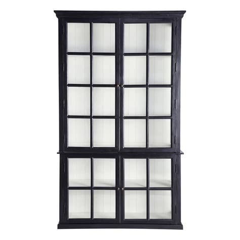 black wood bookshelves mango wood bookcase in black w 135cm descartes maisons du monde