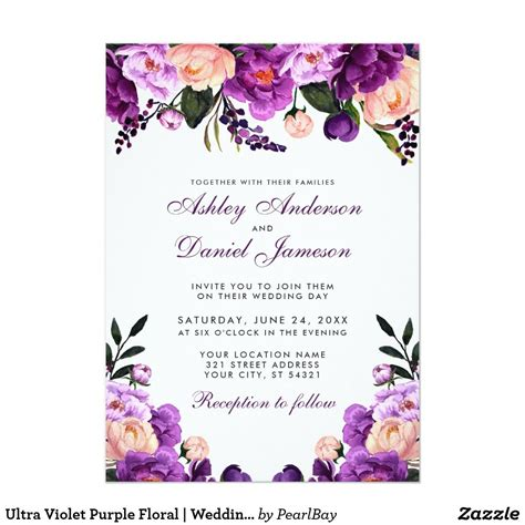 ultra violet purple floral wedding invitation ps zazzle in 2019 ultra violet purple
