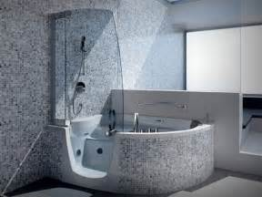 Bathroom Shower And Tub Ideas Splendid Corner Step In Whirlpool Tub With Modern Steam Shower Tub Combo And Clear Glass Screen