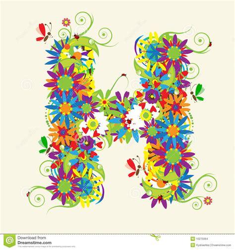 Letter H, floral design stock vector. Image of blossom ... H Alphabet Designs