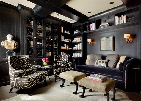 black built ins 21 black and white home office designs decorating ideas