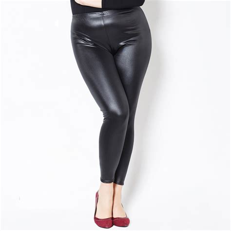 legging jumbo pendek fit xxxxxl leather look shiny look plus size pu