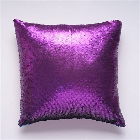Mermaid Pillow Cover Purple/Dark Blue Change Color Sequins
