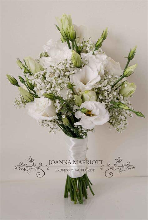 white lisianthus  gypsophila bridesmaid bouquet