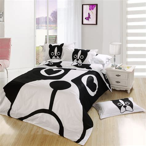twin bed comforter size black white dog kids cartoon bedding comforter bedroom set