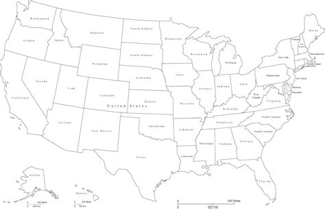 black and white map of the united states united states black white map with state areas and state