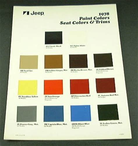 buy jeep 78 jeep models exterior paint chart