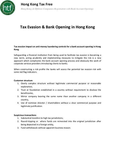 offshore bank account hong kong tax evasion bank opening in hong kong