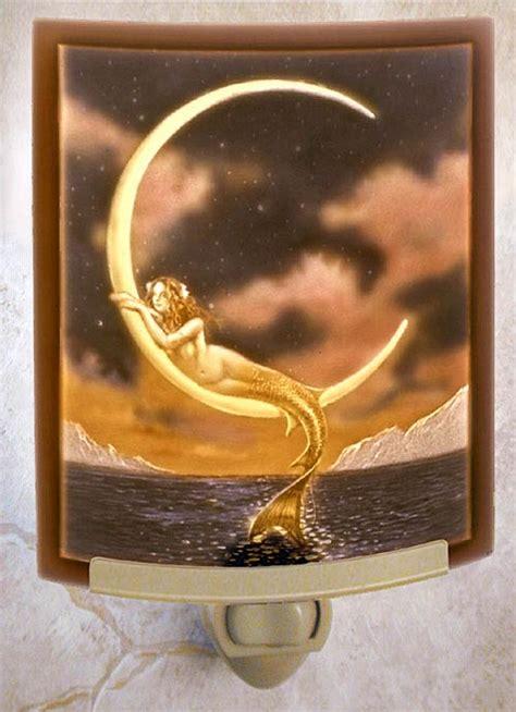 mermaid  moon night light color