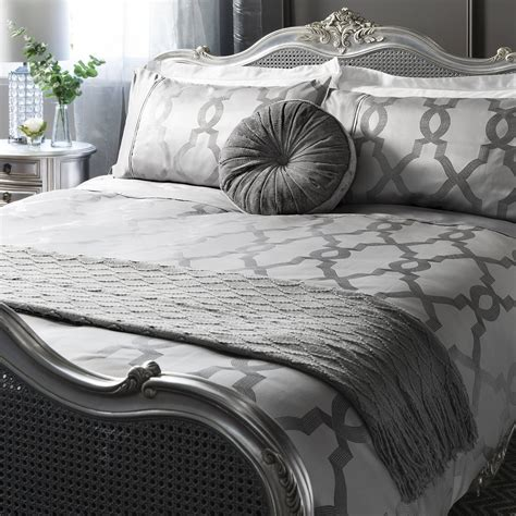 Duvet Quilt Cover Bedding Set Luxury Jacquard Quatrefoil Duvet Quilt Cover Bedding Bed Set Glimmer Silver Grey Ebay