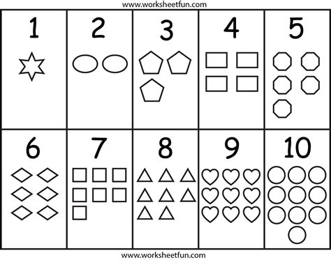 printable number shapes printable numbers worksheet kindergarten