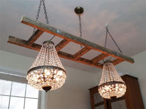 Vintage Farmhouse Ladder with Crystal Chandeliers ? iD Lights