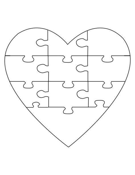 printable heart puzzle template puzzle craft create your own memory verse activity