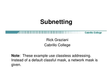 subnetting tutorial exles classless subnetting