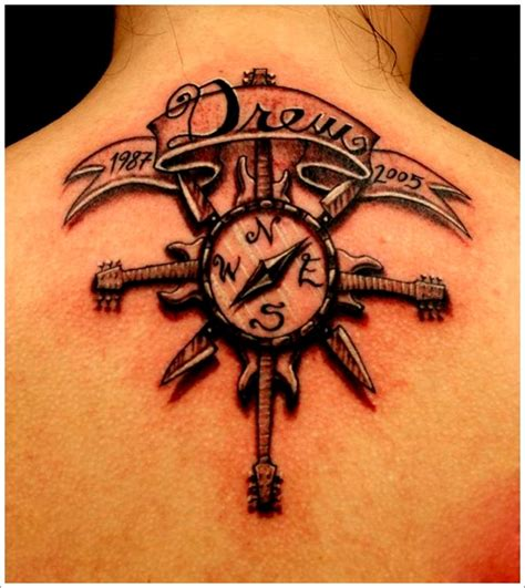 compass tattoo upper back get awesome compass tattoo designs 2
