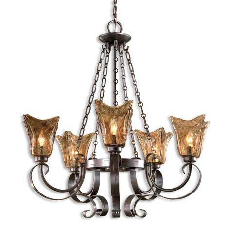 Metallic Chandelier World Imports Berkley Square 5 Light Weathered Bronze Chandelier Wi8102562 The Home Depot