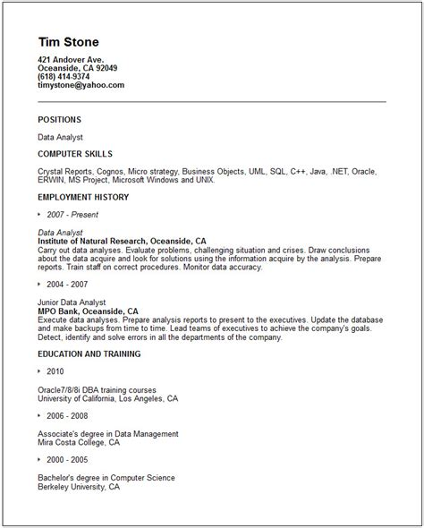 data analyst resume template exle resume sle resume data analyst