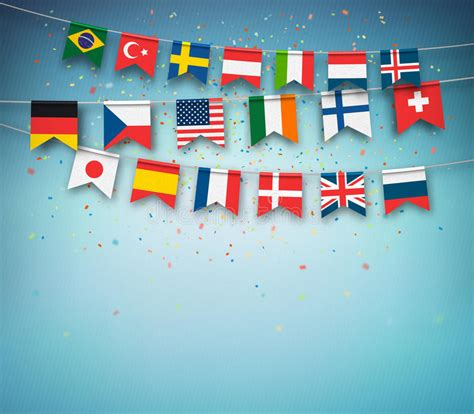 flags of the world garland colorful flags of different countries world garland with