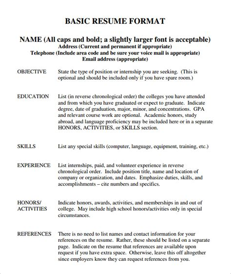 free basic resume templates 70 basic resume templates pdf doc psd free
