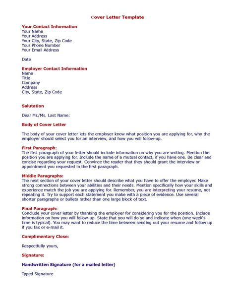 Cover Letter Templete by Cover Letter Sles