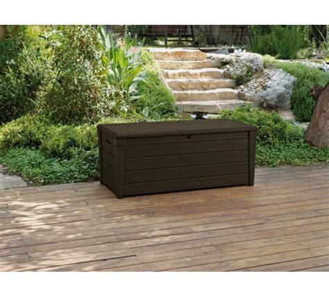 keter storage bench brown buy keter peyton wood effect plastic garden storage bench brown at argos co uk your