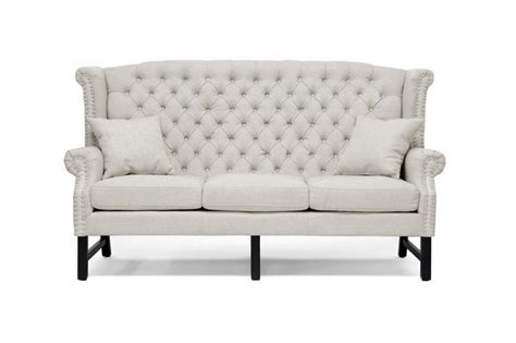 modern beige linen button tufted high back sofa loveseat