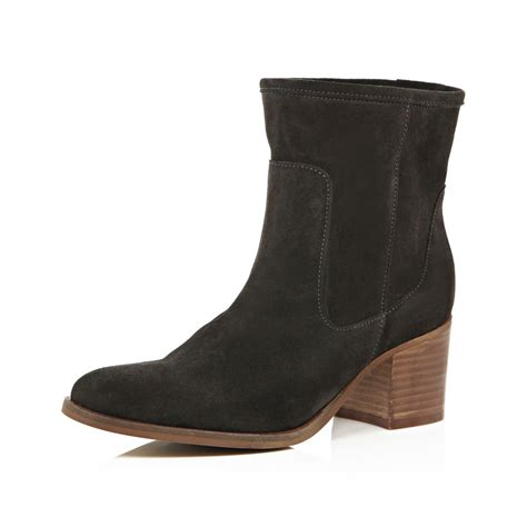 gray suede boots river island grey suede heeled ankle boots in gray grey