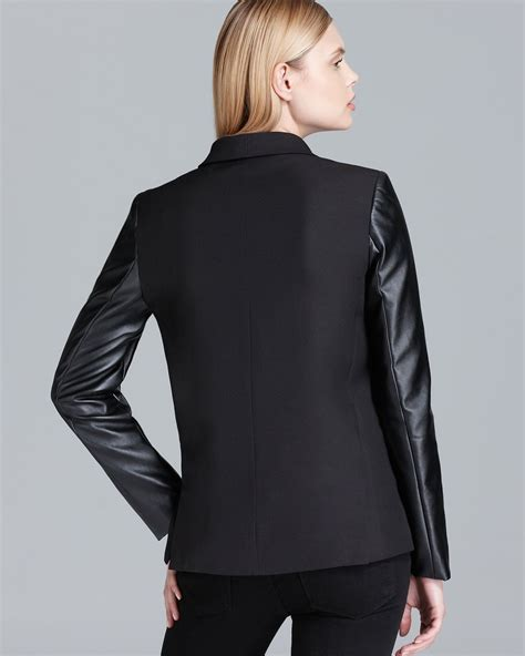Kaos Dkny 2 dkny shawl collar blazer with faux leather sleeves in