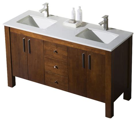 Quartz Countertops Bathroom Vanities by Parsons 60 Sink Vanity Chestnut Beige Sink Beige