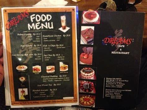 Menu Coffee Toffee Malang dreams cafe n resto malang ulasan restoran tripadvisor