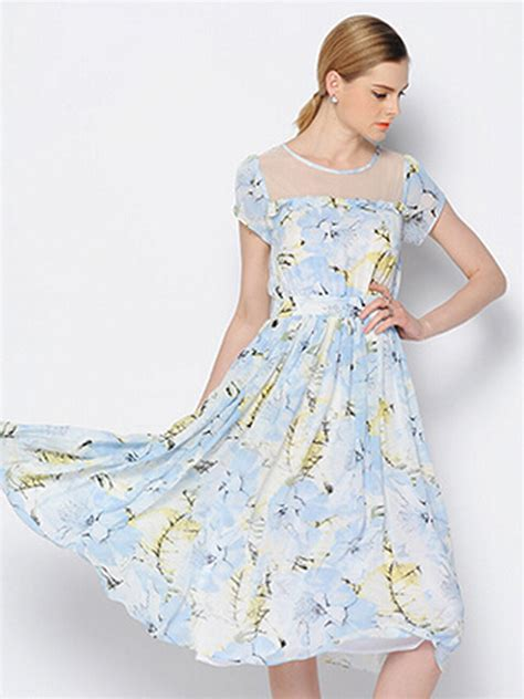 Panel Floral Midi Dress sky blue floral sheer panel ruffle trim midi dress new