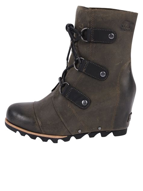 sorel joan of arctic leather wedge boots in brown nori