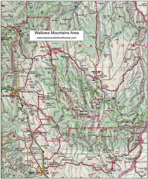 mountains oregon map day hikes in the wallowa mountains