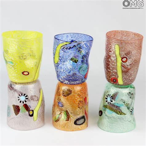 bicchieri di murano fruit set di 6 bicchieri in vetro di murano colori