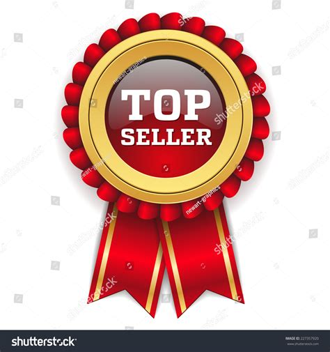 top seller badge gold border stock vector 227357920