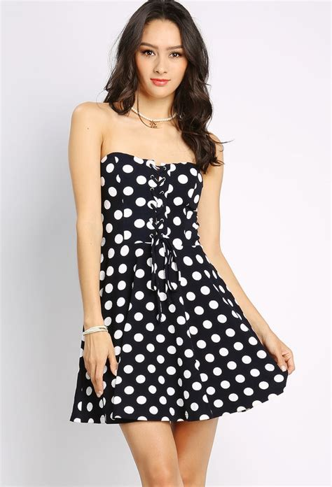 Mini Dress Polkadot Katun lace up polka dot mini dress shop day dresses at papaya