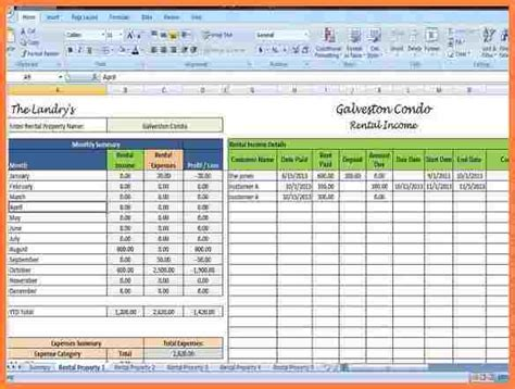 property management spreadsheet template budget