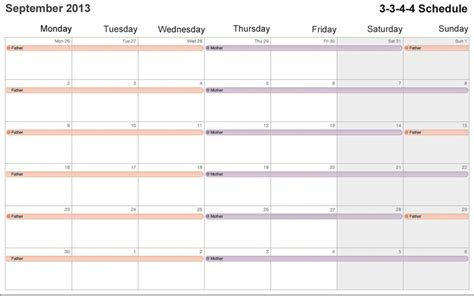 custody schedule template custody schedule template templates collections