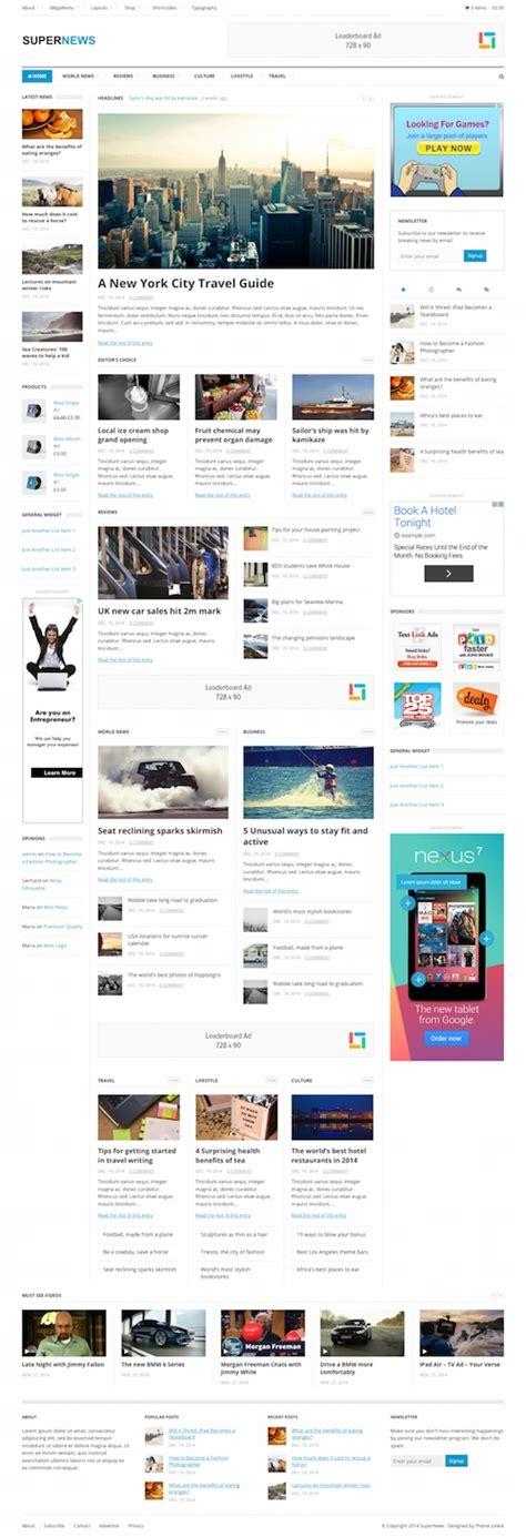 supernews theme junkie 40 best magazine wordpress themes 2017