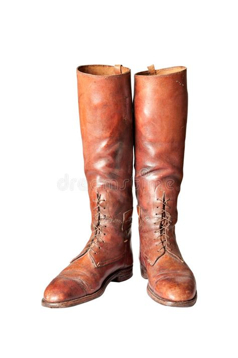 vintage brown knee high mens boots on white royalty