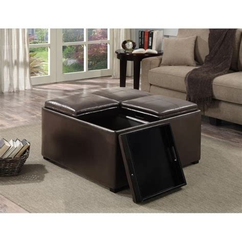 Brown Leather Ottoman Coffee Table With Storage Faux Leather Coffee Table Storage Ottoman In Brown F 07