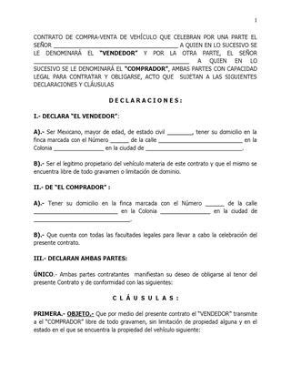 formato de compraventa de carros y motos en word infodeayuda machote compra venta vehiculo by victor ramirez issuu