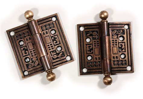 pair of vintage finish cast pair of antique cast iron 3 hinges with original black enamel finish c 1880 s nhp62 for sale