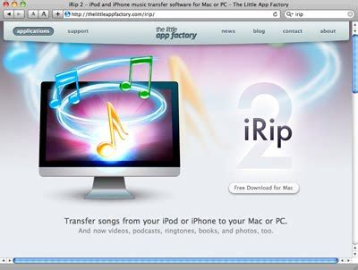 irip ipod and iphone music transfer software for mac or irip free
